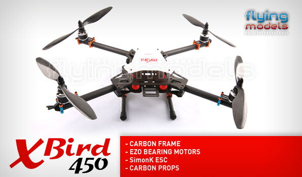XBird 450 carbon quadcopter BNF 5